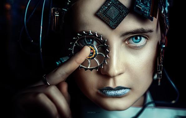 Картинка взгляд, девушка, лицо, Alexander Drobkov-Dark, Ева Лапенко, голубая помада