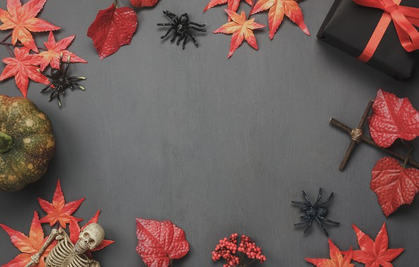 Картинка осень, листья, фон, подарки, Halloween, autumn, leaves, хеллоуин, gift, pumpkin