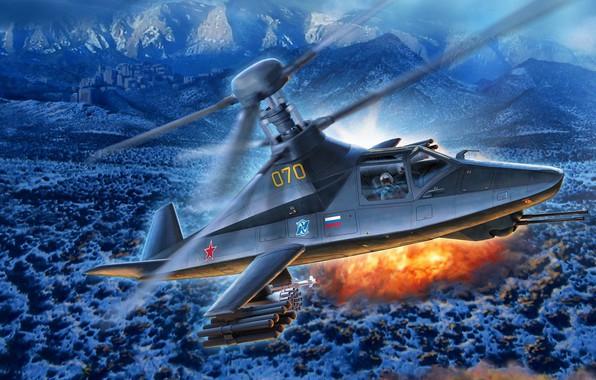 Картинка Stealth, Ка-58, ОКБ Камова, ВКС России, Чёрный призрак, боевой разведывательно-ударный вертолёт