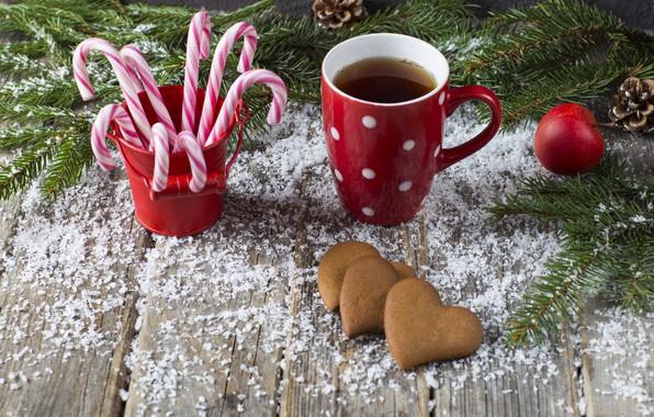 Картинка снег, украшения, Новый Год, Рождество, Christmas, snow, New Year, coffee cup, cookies, decoration, чашка кофе, …