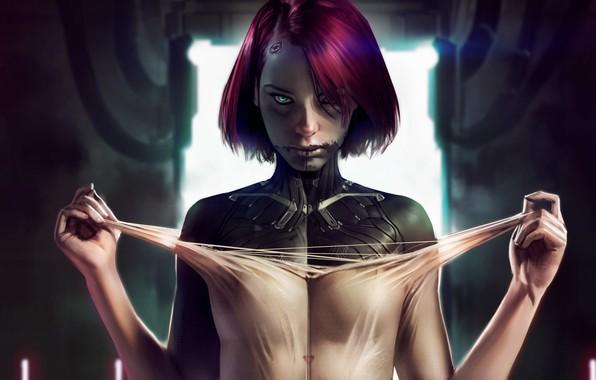 Картинка взгляд, девушка, киберпанк, art, cyberpunk, Sci-Fi