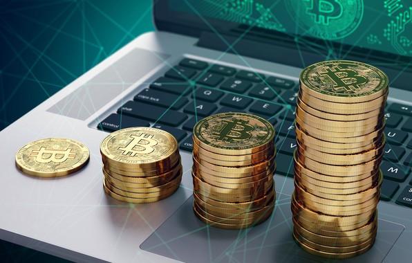 Картинка ноутбук, монеты, notebook, bitcoin, стопки, биткоин, btc
