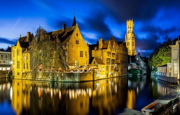 Картинка огни, вечер, Бельгия, Belgium, Брюгге