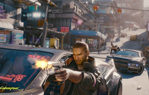 Картинка city, игры, оружие, погоня, герой, game, киберпанк, перестрелка, rpg, shooter, action, video game, Cyberpunk 2077, …