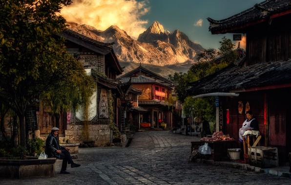 Картинка горы, город, люди, улица, дома, утро, Китай, Байша, Baisha