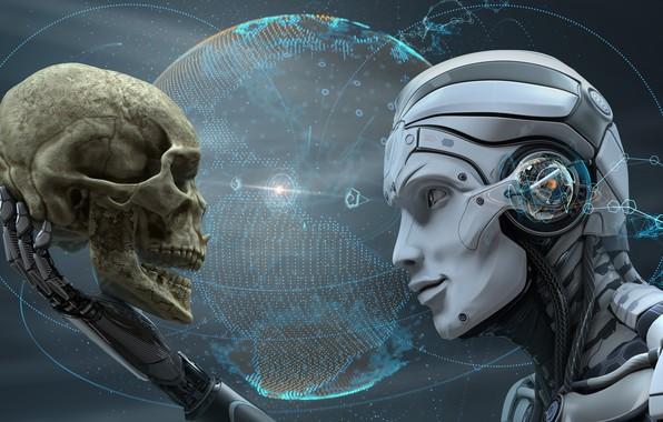 Картинка skull, cyborg, futuristic, human android