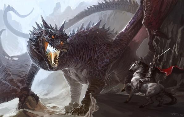 Картинка sword, fantasy, Dragon, armor, weapon, fight, horse, artwork, warrior, fantasy art, creature, knight, cape