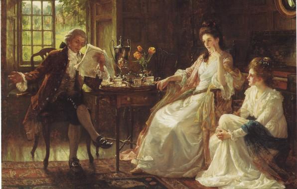 Картинка цветы, две женщины, окно, чаепитие, кружки, фортепиано, самовар, DICKSEE, THE FIRST AUDIENCE, мужчина читает газету