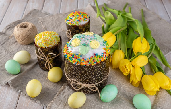 Картинка праздник, яйца, пасха, тюльпаны, кулич
