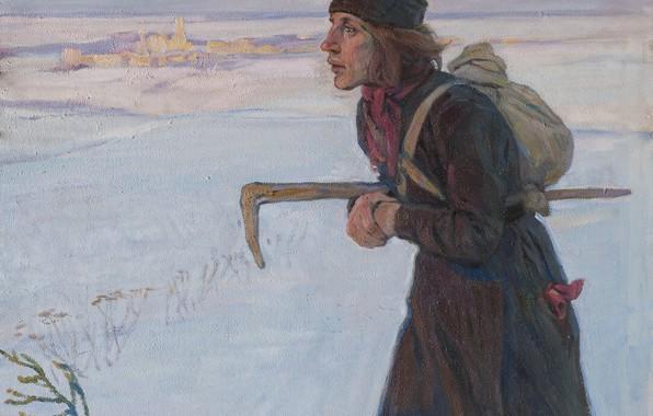 Картинка зима, 1919, Aleksei Mikhailovich Korin, THE MONK