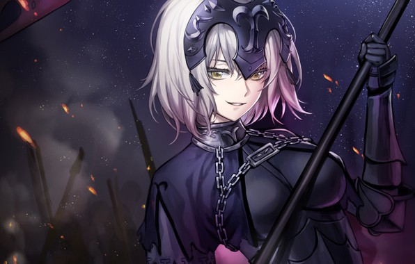 Картинка девушка, ночь, Жанна Д'арк, Fate / Grand Order, Судьба великая кампания