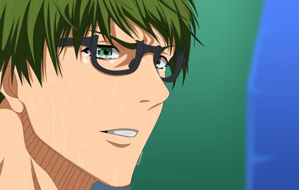 Картинка лицо, очки, парень, зеленые волосы, пот, челка, баскетбол Куроко, Midorima Shintarou, kuroko no basuke