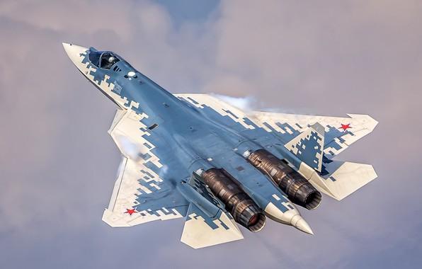 Картинка небо, полёт, многоцелевой истребитель, ВКС России, истребитель пятого поколения, Су-57, Su-57