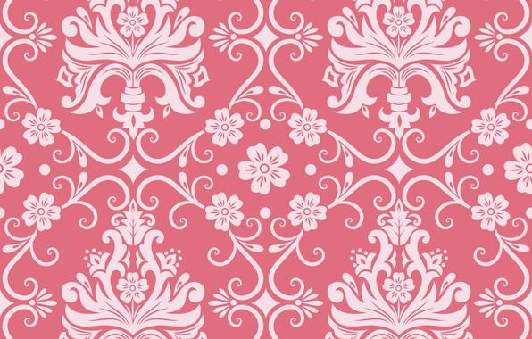 Картинка цветы, фон, розовый, узор, орнамент, style, винтаж, ornament, seamless, victorian