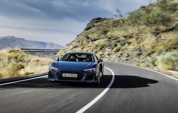 Картинка асфальт, движение, Audi, спорткар, Audi R8, V10, quattro performance