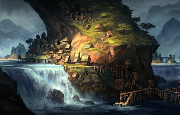 Картинка горы, река, водопад, дома, river, строения, mountains, houses, waterfall, buildings, fantasy art, луч света, ray …