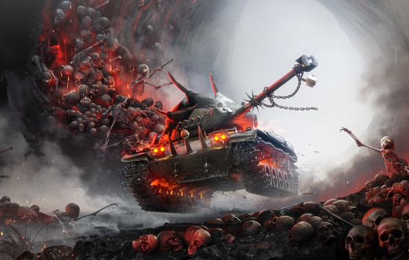 Картинка огонь, дым, арт, шипы, искры, кости, танк, Halloween, черепа, пещера, цепи, постер, скелеты, Xbox, свет …
