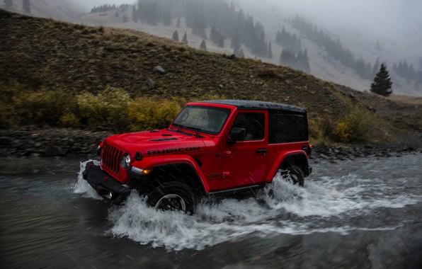 Картинка волны, красный, ручей, дождь, 2018, Jeep, Wrangler Rubicon