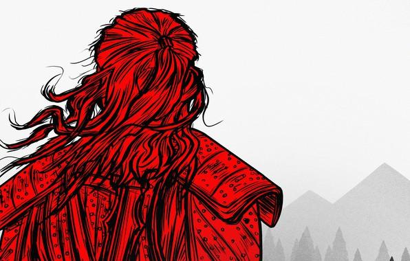 Картинка красный, арт, Ведьмак, The Witcher