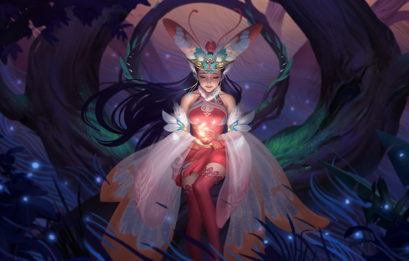 Картинка лес, ночь, свеча, сказка, фея, фэнтези, арт, мотылёк, легенда, миф, Hou China, Fairy 仙 Мотылек …
