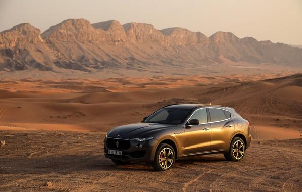 Картинка пустыня, Maserati, вечер, кроссовер, 2017, Levante, Q4, GranSport, Levante S