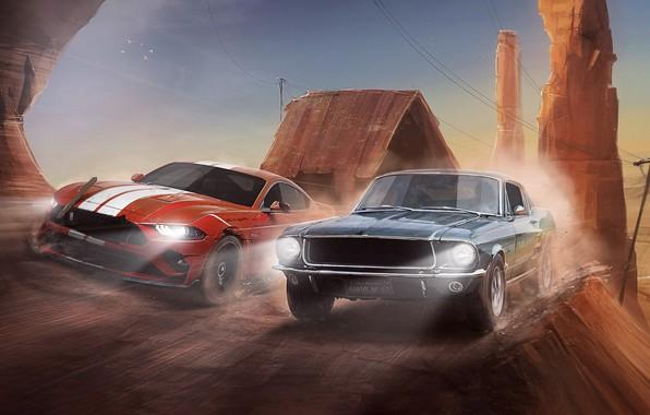 Картинка Mustang, Ford, Shelby, Красный, Авто, Черный, Рисунок, Ретро, Машина, Скорость, Движение, Погоня, Car, Арт, Новый, …