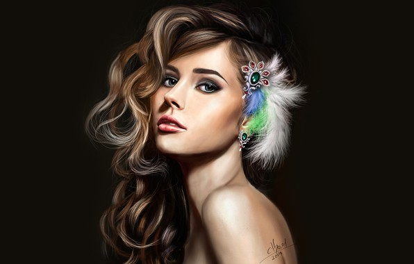 Картинка взгляд, украшения, рисунок, портрет, перья, макияж, арт, прическа, шатенка, красотка, черный фон