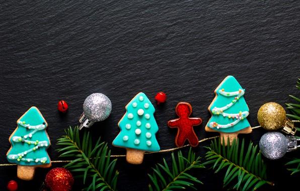 Картинка украшения, Новый Год, печенье, Рождество, Christmas, wood, New Year, cookies, decoration, пряники, gingerbread, Merry, fir …