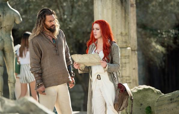 Картинка девушка, карта, мужчина, рыжая, Amber Heard, Эмбер Хёрд, Jason Momoa, Arthur Curry, Mera, In Aquaman