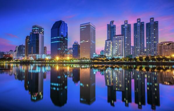 Картинка город, здания, вечер, Тайланд, Бангкок