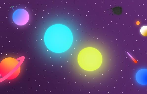 Картинка космос, планеты, планета, НЛО, комета, астероид, space