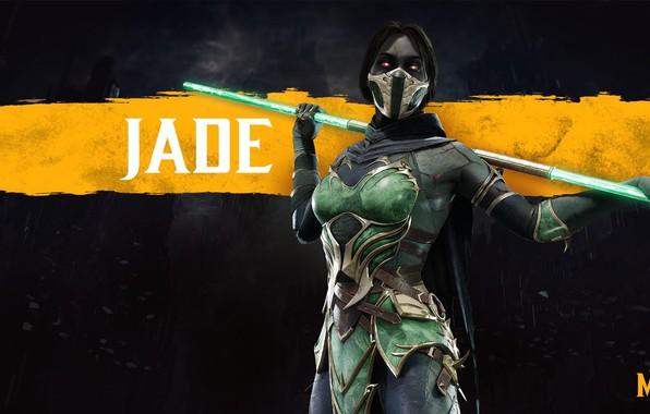 Картинка девушка, посох, girl, боец, game, шест, fighting, Джейд, Jade, NetherRealm Studios, revenant, Mortal Kombat 11, …