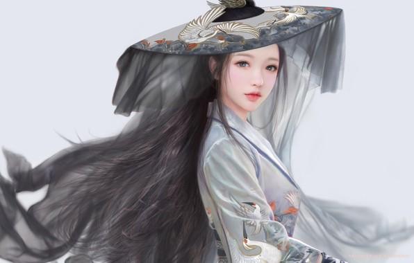 Картинка шляпа, серый фон, длинные волосы, вуаль, журавли, кореянка, серый костюм, by Ruoxin Zhang