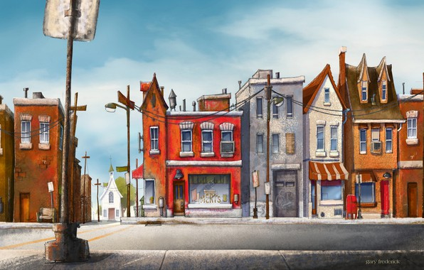Картинка city, wallpaper, art, street, painting, buildings, pillar, road sign