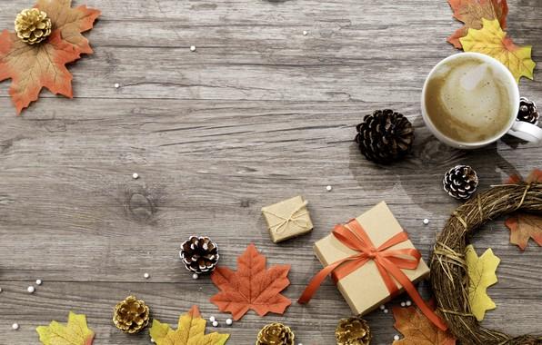 Картинка осень, листья, фон, colorful, подарки, клен, wood, background, autumn, leaves, cup, gift, coffee, осенние, чашка …