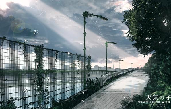 Картинка капли, мост, забор, набережная, серое небо, луч солнца, безлюдный город, асфальтовая дорога