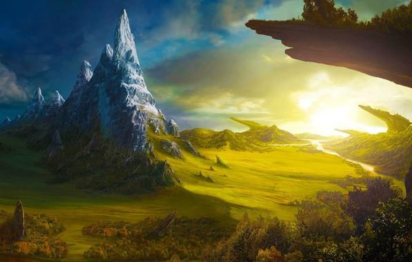 Картинка облака, деревья, горы, река, простор, river, trees, mountains, луга, clouds, иные миры, sunlight, фантастический пейзаж, …