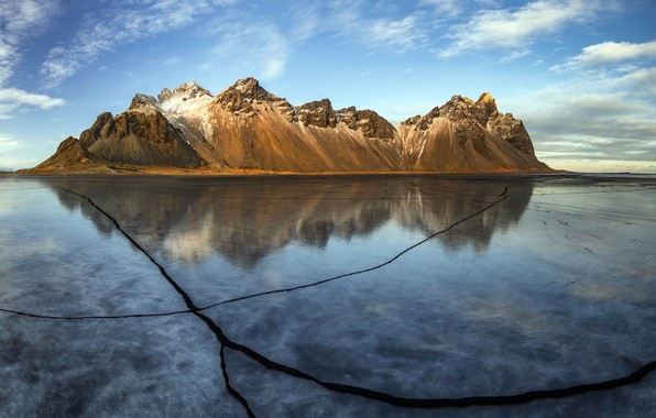 Картинка ice, Winter, Reflection, iceland, Vestrahorn Cracks