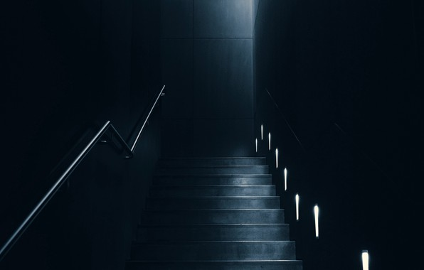 Картинка dark, room, interior, staircase, lighting, backlight, 4k ultra hd background