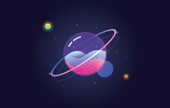 Картинка space, universe, glass, Planet, minimalism, stars, digital art, artwork, simple background