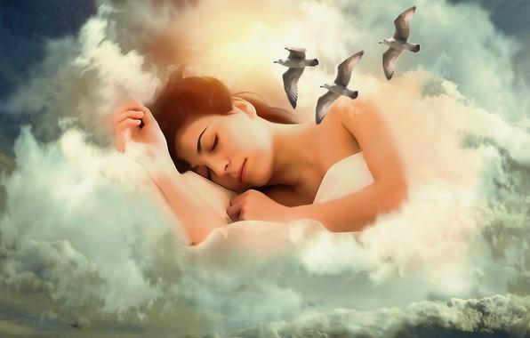 Картинка девушка, облака, птицы, фантазия, настроение, чайки, сон, обработка, арт, спит