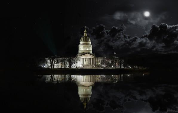 Картинка ночь, тучи, озеро, отражение, луна, West Virginia Architecture State Capital