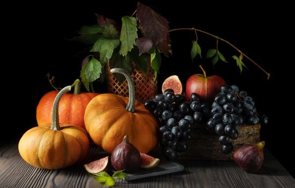 Картинка виноград, тыквы, натюрморт, инжир, Olga ЯR