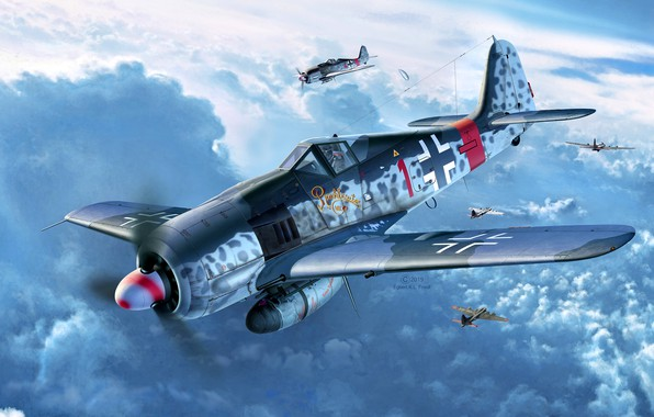 Картинка Focke-Wulf, Fw.190A-8, Sturmbock, 2x20-мм пушки MG 151, 2x30-мм пушки MK 108, Klaus Bretschneider, 5.(Sturm)/JG300, Defence …