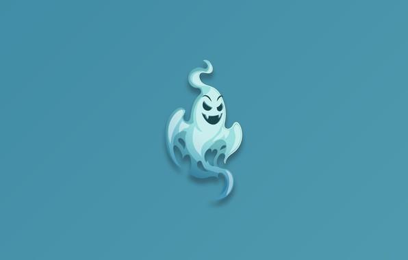 Картинка Ghost, minimalism, fear, blue background, digital art, artwork, scary, simple background