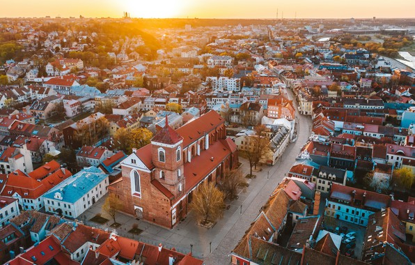 Картинка Sunrise, Lithuania, Kaunas old town