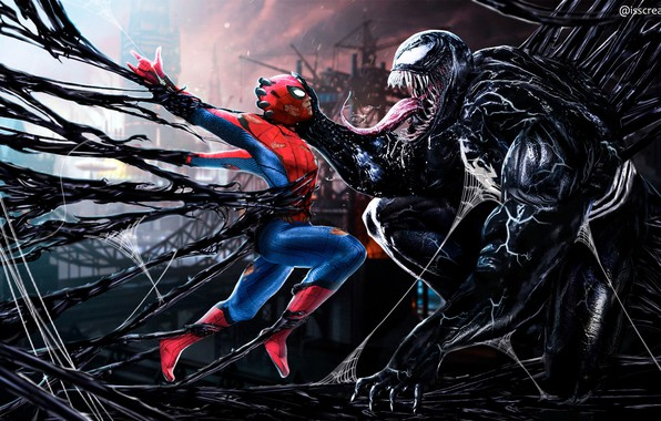 Картинка Tom Hardy, Venom, Peter Parker, Spider Man, Eddie Brock, Tom Holland