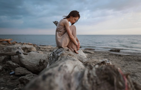 Картинка девушка, платье, на берегу, Aleks Five