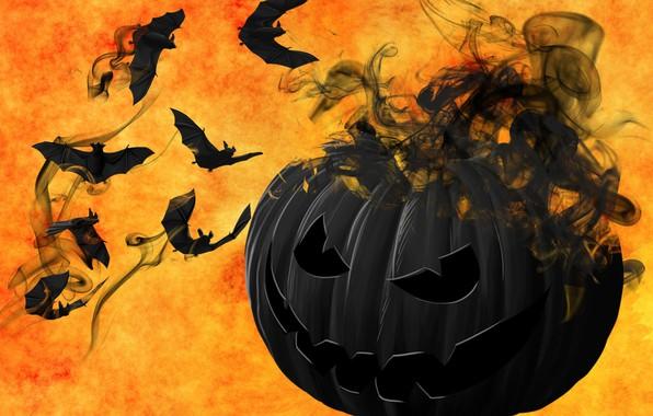 Картинка мистика, тыква, Хэллоуин, летучие мыши, 31 октября