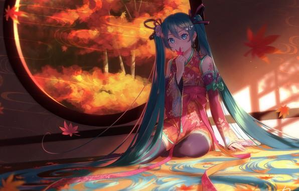 Картинка vocaloid, Hatsune Miku, games, blue eyes, tattoo, window, kimono, games girl